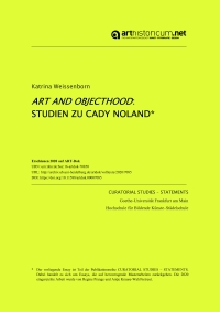 Curatorial Studies - Statements / Cover